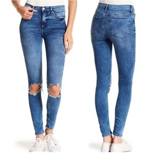 Free People High Rise Distressed Skinny Jeans 29